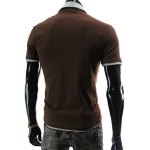 cheap Stylish Turndown Collar Slimming Color Block Badge Letter Embroidered Short Sleeve Polyester Polo T-Shirt For Men