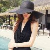 Chic Wide Brim Candy Color Straw Hat For Women