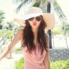 cheap Chic Wide Brim Candy Color Straw Hat For Women