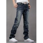 Simple Zipper Fly Pocket and Ruffles Embellished Slimming Bleach Wash Straight Leg Men's Jeans deal