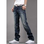 cheap Simple Zipper Fly Pocket and Ruffles Embellished Slimming Bleach Wash Straight Leg Men's Jeans