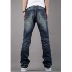 Simple Zipper Fly Pocket and Ruffles Embellished Slimming Bleach Wash Straight Leg Men's Jeans for sale