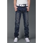 Buy Laconic Pocket Ruffles Design Zipper Fly Bleach Wash Slimming Straight Leg Men's Jeans 36