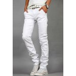 Buy Laconic Zipper Fly Metal Button Embellished Slimming Bleach Wash Straight Leg Men's Jeans 38 WHITE