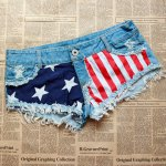 Low-Waisted Flag Print Short Denim Shorts for sale