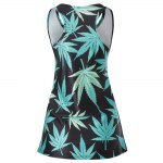 Stylish Scoop Neck Leaf Print Tank Top For Women for sale