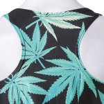 Stylish Scoop Neck Leaf Print Tank Top For Women photo