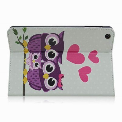 Фотография Stand Design Owl Pattern Cover Case of PU and PC Material for iPad mini