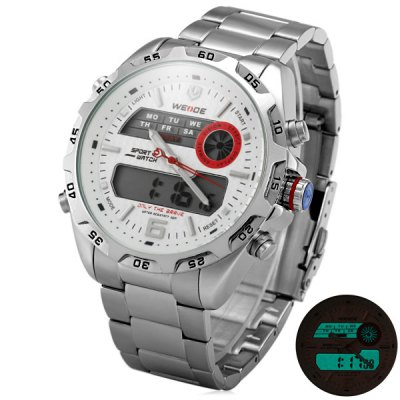 WEIDE WH - 3403 Double Movt Japan Movement Steel Band Watch for Men