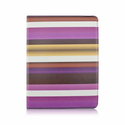 Гаджет   Rotatable Stand Design Contrast Color Stripes Pattern Cover Case of PU and PC Material for iPad 3 iPad Cases/Covers