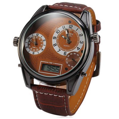 Oulm 3581 Men 3 - Movt Japan Quartz Watch Leather Band Analog LED Digital Round Dial