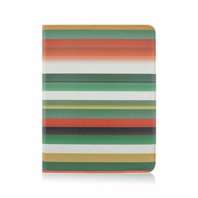 Rotatable Stand Design Contrast Color Stripes Pattern Cover Case of PU and PC Material for iPad Air