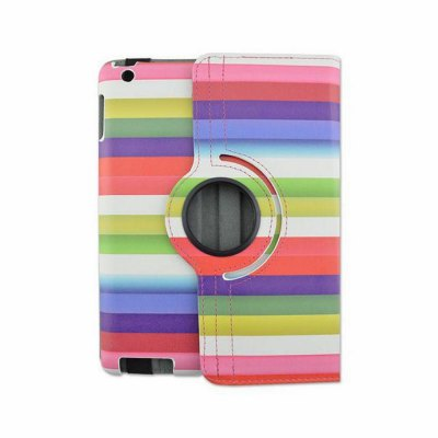 Фотография Rotatable Stand Design Contrast Color Stripes Pattern Cover Case of PU and PC Material for iPad Air