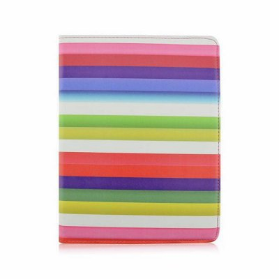 ФОТО Rotatable Stand Design Contrast Color Stripes Pattern Cover Case of PU and PC Material for iPad Air