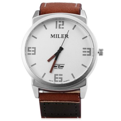 Фотография Miler A8279 Male Quartz Watch Date Display with Leather Canvas Band Round Dial