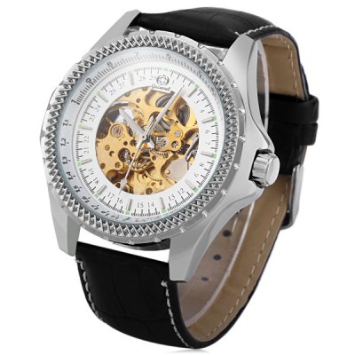 Гаджет   Gucamel G026 Analog Automatic Mechanical Watch Hollow - out Design Leather Band for Men Men