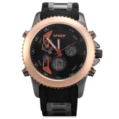 Фотография HPOLW 595 Double Displays Male Watch with Alarm Light Calendar Stopwatch Round Dial Rubber Watchband