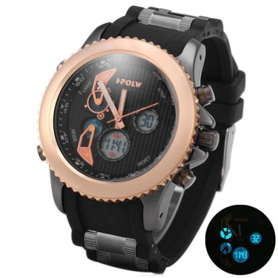 HPOLW 595 Double Displays Male Watch with Alarm Light Calendar Stopwatch Round Dial Rubber Watchband