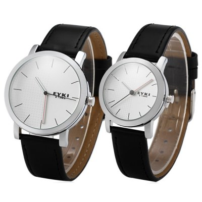 Eyki W8410G Round Dial Water Resistant Couple Quartz Watch Leather Watchband