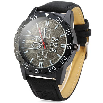 Dioro 10844G Male Watch Quartz Analog Leather Strap Wristwatch