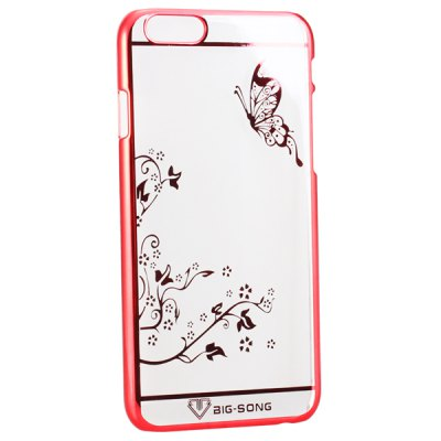 Фотография BigSong PC Material Butterfly Pattern Phone Back Cover Case of Transparent Design for iPhone 6 Plus  -  5.5 inch