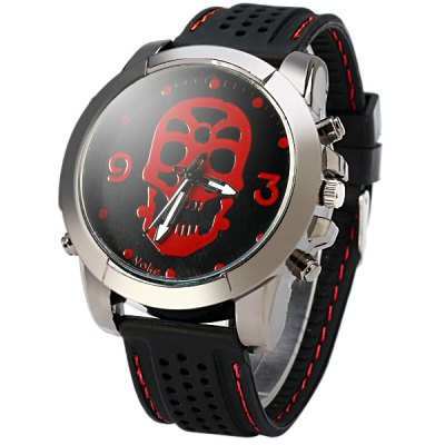 Skull Face Quartz Watch with Rubber Band Round Dial for Men