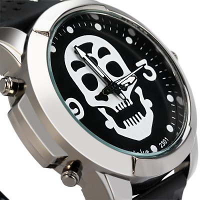 Фотография Skull Face Quartz Watch with Rubber Band Round Dial for Men