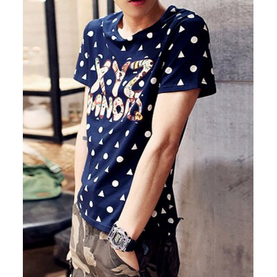 Гаджет   Stylish Round Neck Slimming Triangle and Polka Dot Print Short Sleeve Polyester T-Shirt For Men T-Shirts