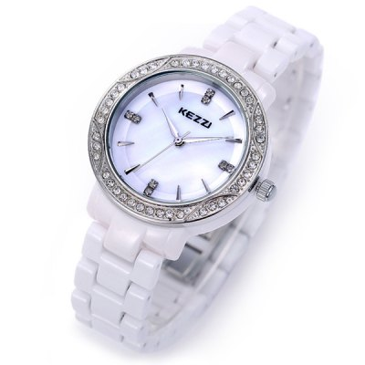 Фотография Kezzi Analog Diamond Ladies Quartz Watch Round Dial Ceramic Strap
