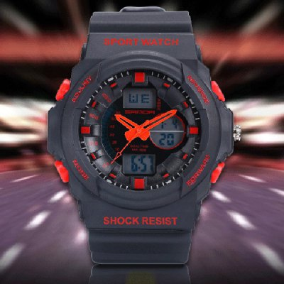 Гаджет   Sanda 241 Outdoor Sports LED Watch Army Militray Dual Movt Wristwatch Sports Watches