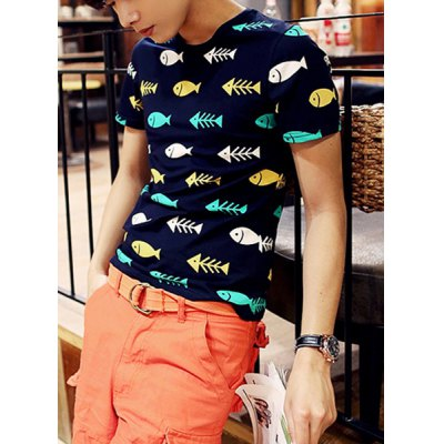 Stylish Round Neck Slimming Cartoon Fishes Print Short Sleeve Polyester T-Shirt For MenMens Short Sleeve Tees<br>Stylish Round Neck Slimming Cartoon Fishes Print Short Sleeve Polyester T-Shirt For Men<br><br>Material: Polyester<br>Sleeve Length: Short<br>Collar: Round Neck<br>Style: Fashion<br>Weight: 0.190KG<br>Package Contents: 1 x T-Shirt<br>Pattern Type: Character