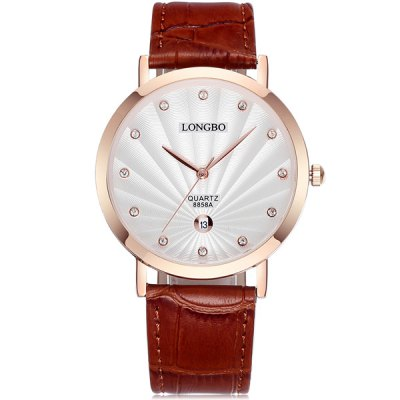 Фотография Longbo 8858A Men Imported Quartz Watch with Date Function Leather Band
