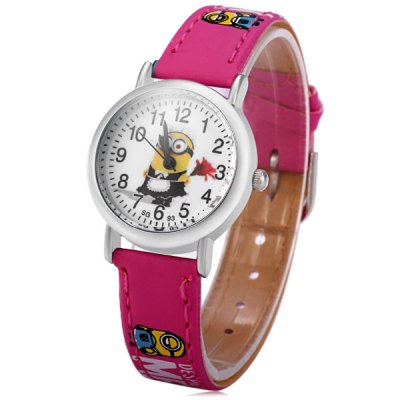 Гаджет   Children Quartz Watch Minions Wristwatch with Round Dial Kids