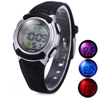 Pasnew 327 Water Resistant Sports LED Watch with Day Stopwatch Function for Kids