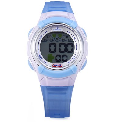 Фотография Pasnew 327 Water Resistant Sports LED Watch with Day Stopwatch Function for Kids