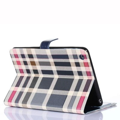 Фотография Stand Design Grid Pattern Card Holder Protective Cover Case of PU and PC Material for iPad mini 3