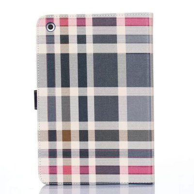 Stand Design Grid Pattern Card Holder Protective Cover Case of PU and PC Material for iPad mini 3
