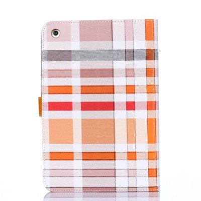 Stand Design Grid Pattern Card Holder Protective Cover Case of PU and PC Material for iPad mini 2