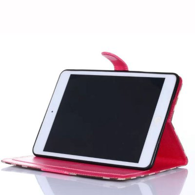 Фотография Stand Design Grid Pattern Card Holder Protective Cover Case of PU and PC Material for iPad mini