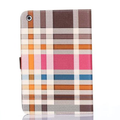 Stand Design Grid Pattern Card Holder Protective Cover Case of PU and PC Material for iPad mini