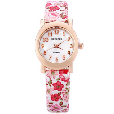 MEELEER Female Quartz Watch with Floral Pattern Round Arabic Numerals Dial Cloth Leather Band