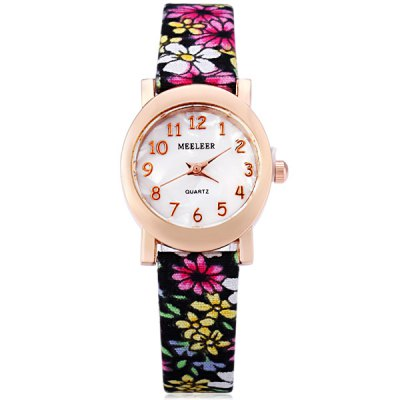 Фотография MEELEER Female Quartz Watch with Floral Pattern Round Arabic Numerals Dial Cloth Leather Band