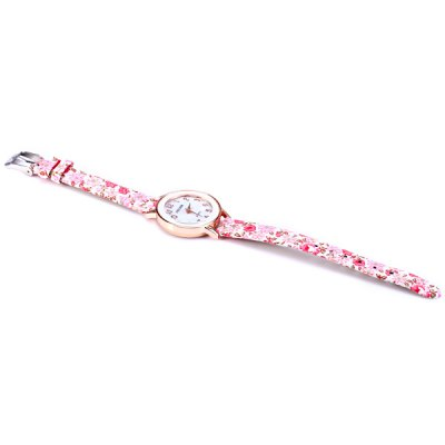 Фотография MEELEER Female Quartz Watch with Floral Pattern Round Dial Cloth Leather Band