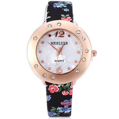 Гаджет   MEELEER Women Quartz Watch with Floral Pattern Round Rhinestone Dial Leather Band