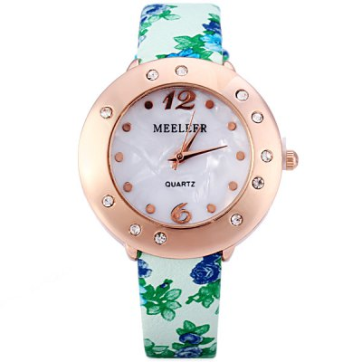 Гаджет   MEELEER Women Quartz Watch with Floral Pattern Round Rhinestone Dial Leather Band Women