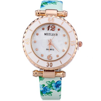Фотография MEELEER Female Quartz Watch with Floral Pattern Dual Time Round Dial Leather Band