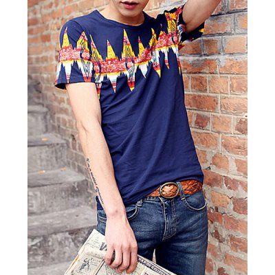 ФОТО Stylish Round Neck Slimming Color Block Argyle Print Short Sleeve Polyester T-Shirt For Men