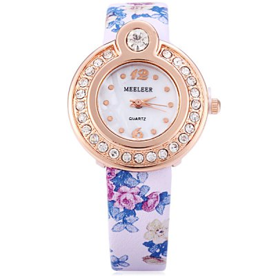 MEELEER Female Quartz Watch with Floral Pattern Round Rhinestone Dial Leather Band