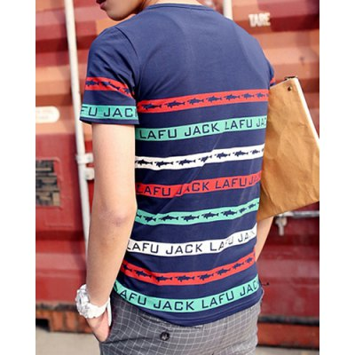 ФОТО Stylish Round Neck Slimming Colorful Stripes and Letters Print Short Sleeve Polyester T-Shirt For Men