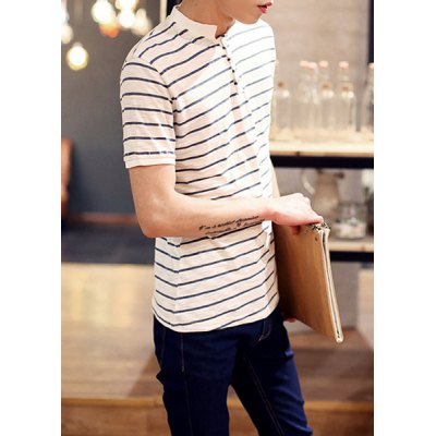 Гаджет   Fashion Stand Collar Button Design Slimming Stripes Print Short Sleeves Men